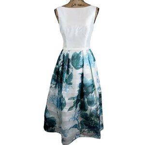 Theia Tea Length White & Blue Silk Floral Dress